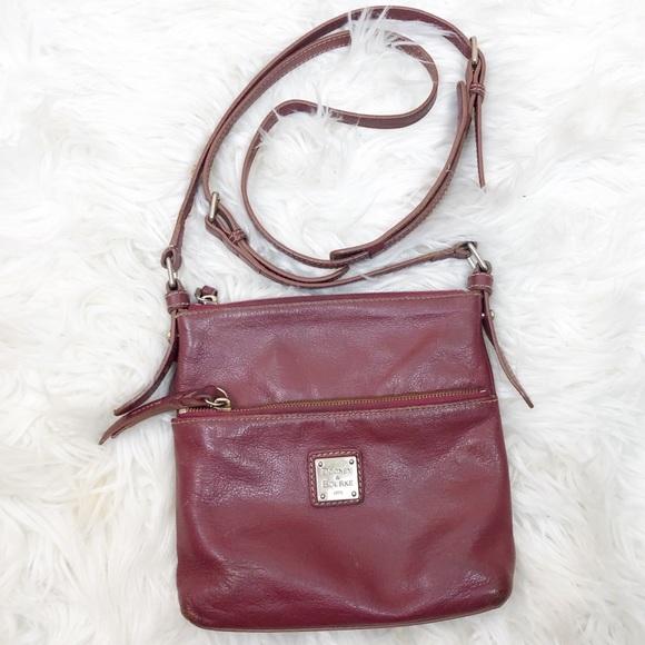 Dooney & Bourke Handbags - Dooney & Burke • Wine Leather Zip Crossbody Bag